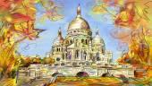 European city street color illustration — Stock Photo