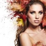 Autumn Woman with beautiful makeup — Stock Photo #56881273