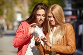 Women making selfie and grimacing — Stock Photo