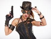 Steampunk fashion woman — Stock Photo