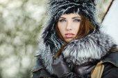 Zimní žena portrét — Stock fotografie