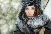 Winter woman portrait — Stok fotoğraf
