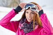 Sport woman in ski goggles  — Zdjęcie stockowe