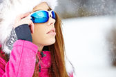 Young woman in wintertime outdoor — Stock Photo