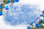 Blue winter border background — Stock Photo