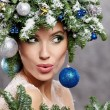 Woman in creative christmas image — Stock Photo #59580413