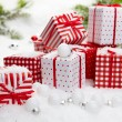 Handmade gift boxes in snow — Stock Photo #59851581