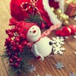 Decoration snowman with pine and snowflakes — Stock Photo #60301021