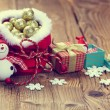 Decoration snowman with pine and snowflakes — Stock Photo #60300993
