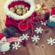 Decoration snowman with pine and snowflakes — Stock Photo #60301011