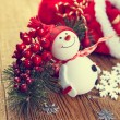 Decoration snowman with pine and snowflakes — Stock Photo #60301023