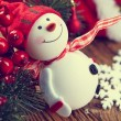 Decoration snowman with pine and snowflakes — Stock Photo #60301031