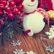 Decoration snowman with pine and snowflakes — Stock Photo #60301035