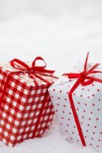 Christmas red decoration boxes — Stock Photo