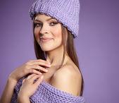 Beautiful winter woman in warm clothing  — Stock Photo