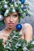 Kadın portre yaratıcı Noel görüntü — Stok fotoğraf