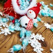 Decoration snowman with candy in sack — Stock Photo #60507731
