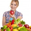 Beautiful woman with healthy food — Stock Photo #60507215
