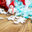Decoration snowman with candy in sack — Stock Photo #60507259