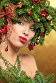 Woman with Christmas Hairstyle and Make up — Stock Photo