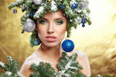 Woman portrait in creative christmas image — Foto Stock