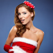 Sexy girl wearing santa claus clothes — Stock Photo #60588003