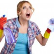 Young housewife cleaning on white  — Stock Photo #61839611