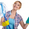 Housewife cleaner isolated over white — Stock Photo #61839617