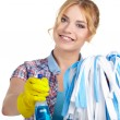 Housewife cleaner isolated over white — Stock Photo #61839635