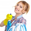 Housewife cleaner isolated over white — Stock Photo #61839645
