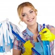 Housewife cleaner isolated over white — Stock Photo #61839657