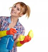 Young housewife cleaning on white — Stock Photo