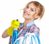 Housewife cleaner isolated over white — Stock Photo