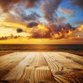 Old wooden table with sea scene — Stock Photo