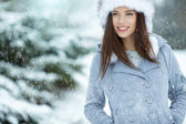Woman in wintertime outdoor — Stock Photo