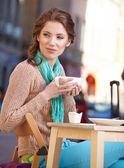 Woman enjoying the open air restaurant — Stock Photo