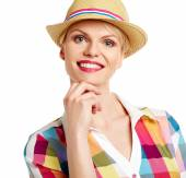 Summer blonde in hat isolated on white background — Stock Photo