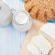 Milk products with bread — Stock Photo #70767561