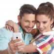 Happy hipster couple taking a selfie — Stock Photo #72025387