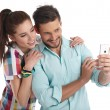 Happy hipster couple taking a selfie — Stock Photo #72025585