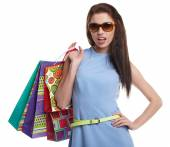 Shopping woman holding bags — Stock Photo