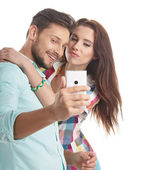 Couple take selfie — Stock Photo