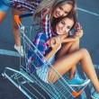 Two happy beautiful girls in shopping cart outdoors, lifestyle c — Stock Photo #52488611