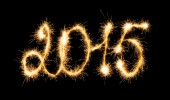 Happy New Year - 2015 made a sparkler — Stock Photo