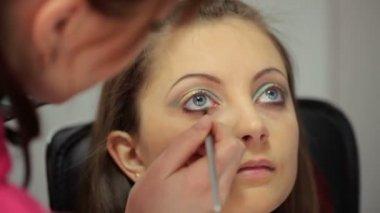Bright eye make-up — Stock Video
