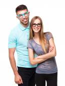 Beautiful young happy couple smiling, man and woman looking at c — Stock Photo