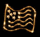 Flag of USA made of sparkles on black — Stock Photo