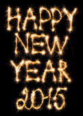 Happy New Year 2015 made of sparkles on black — Stockfoto