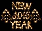 Happy New Year 2015 made of sparkles on black — Stock Photo