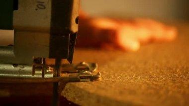 Carpentry - cutting wood jigsaw — Stock Video